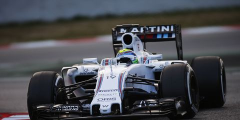 Felipe Massa piloted his Williams car to the fastest time in Barcelona on Thursday.
