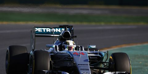 To absolutely no one's surprise, Mercedes dominated Formula One qualifying in Melbourne. Lewis Hamilton took the pole and will be joined on the first row by teammate Nico Rosberg.