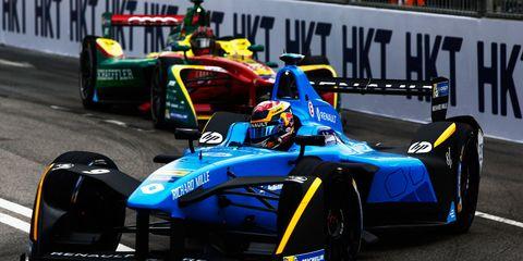 Sebastien Buemi won the Hong Kong ePrix by 2.4 seconds over Lucas di Grassi on Saturday.