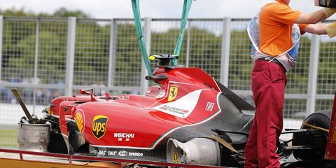 Kimi Raikkonen says he's fine after being involved in a big wreck during the opening laps of the British Grand Prix.
