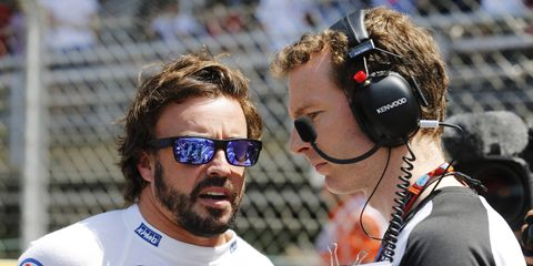 McLaren-Honda's Fernando Alonso, left, was the first driver to retire during Sunday's Formula One Spanish Grand Prix.