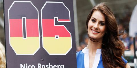 Nico Rosberg's winning day at the Formula One Brazilian Grand Prix also included a girl who knew her way around the grid.