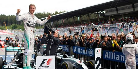 Nico Rosberg celebrates another easy win for Mercedes on Sunday in Austria.