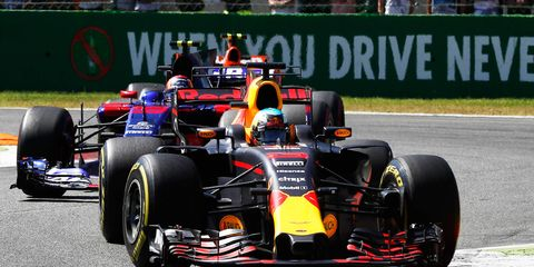 Red Bull's Daniel Ricciardo was handed a 20-place grid penalty at Monza for using more than the allowable four engines for the season.