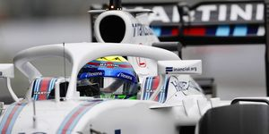 This is an example of the Halo device fitted on the Williams FW38 Mercedes.
