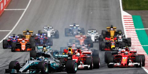 Valtteri Bottas leads the field at the start of the F1 Austrian Grand Prix.