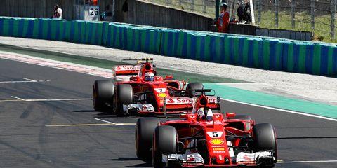 Sebastian Vettel and Kimi Räikkönen finished 1-2 in qualifying on Saturday in Hungary.