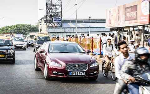 The 2016 Jaguar XJ sedan on the streets of Mumbai