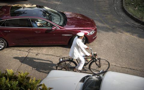 The 2016 Jaguar XJ sedan on the streets of Mumbai