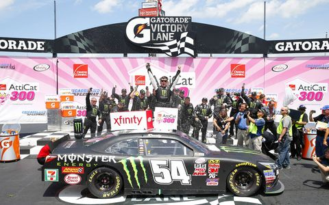 Erik Jones wins the NASCAR Xfinity Series race at Chicagoland Speedway to become the youngest driver to win two major NASCAR races on the same race weekend.