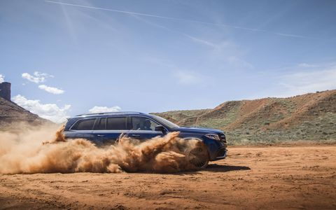 """The Mercedes GLS gets a new front and rear exterior look, 9 G-Tronic transmission and a third row seat that you can """"actually put people with legs in."""" It's the S-Class of Mercedes SUVs."""