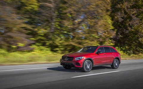 Cardinal Red accentuates the C-Class styling on the GLC.