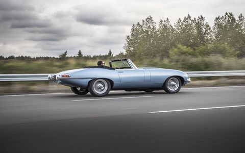 A 1968 based Jaguar E Type with a battery pack and electric motor in place of an engine