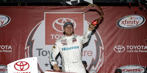 Denny Hamlin led 248 of 250 laps on Friday to give Toyota its 100th win in the NASCAR Xfinity Series.