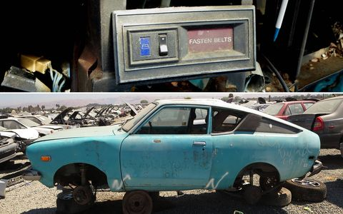 The illuminated rear-defrost switch came from this 1976 Datsun B210.