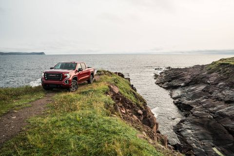 The 2019 GMC Sierra parked, checking out the scenery
