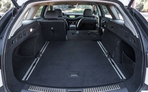 The 2018 Buick Regal TourX has 32.7 cubic feet of trunk space and 73.5 cubic feet when you put the seats down.