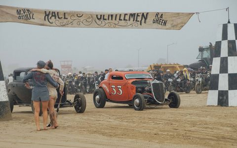 The Race of Gentlemen expanded from the Jersey Shore to California's Oceano Dunes and promptly got hit by the remnants of Typhoon Songda, including everything from steady rain and storm surge tides to delays in opening the corn dog shacks. But the racers didn't seem to care. They came to race and race they did, in authentic hot rods and on authentic motorcycles, blasting over the sand.