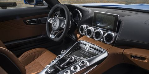 The 2018 Mercedes-AMG GT C Coupe gets a leather-trimmed interior with suede accents.