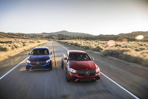 The 2018 Mercedes-AMG GLC63 S gets a twin-turbocharged 4.0-liter V8 and a nine-speed automatic.