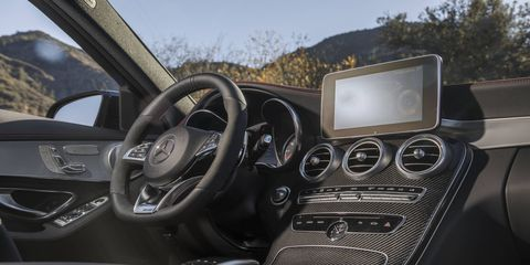 The main eye-catching feature in the 2017 Mercedes-AMG C43 sedan is the 7- or 8.4-inch multimedia package with the COMAND infotainment display.