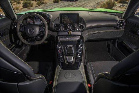 The 2018 Mercedes-AMG GT R comes with the AMG Dynamic Plus Package that includes dynamic engine and transmission mounts, increased peak horsepower from 6,000-6,500 rpm and increased front-wheel negative camber.