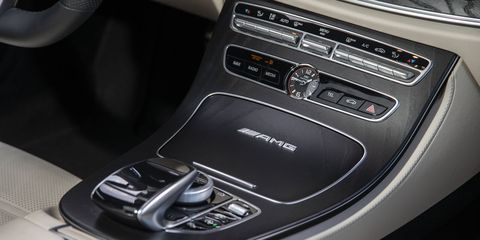 The 2018 Mercedes-AMG E63S wagon has 35 cubic feet of cargo space with the rear seats up and 64 cubic feet with the seats folded down.