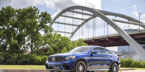 The 2018 Mercedes-AMG GLC63 S Coupe comes with a twin-turbocharged 4.0-liter V8 and a nine-speed automatic.