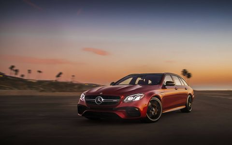 The 2018 Mercedes-AMG E63 wagon has a 4.0-liter biturbo V8 making 603 hp and 627 lb-ft of torque.