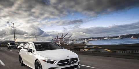 The 2019 Mercedes-Benz A-Class is only offered with a 2.0-liter four making 180 hp and 221 lb-ft of torque.