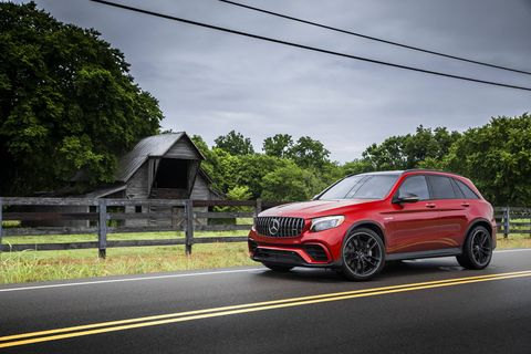 The 2018 Mercedes-AMG GLC63 SUV gets a twin-turbocharged 4.0-liter V8 and nine-speed automatic delivering  469 hp.
