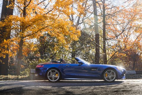 The 2018 Mercedes-AMG GT C Roadster comes with a hand-built twin-turbo AMG 4.0-liter V8 making 550 hp and 502 lb-ft.