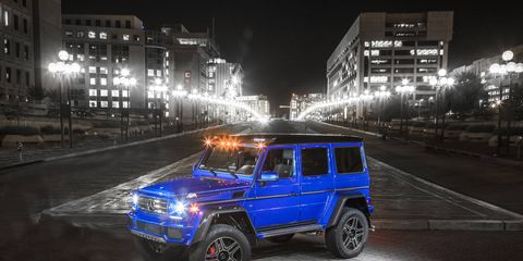 The Mercedes-Benz G550 4x4 squared delivers 416 hp and 450 lb-ft of torque.