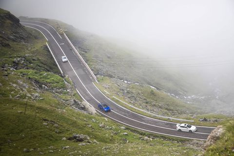 The Subaru WRX STI (especially the Type RA) is in its element on the twisty Transfagarasan Highway in Romania