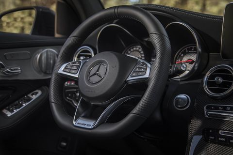 The 2018 Mercedes-AMG GLC 63 Coupe gets redundant buttons for navigation, radio and media.