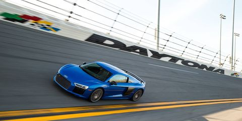 The 2017 R8 V10 starts with 540 hp and a top speed of 199 mph; the V10 plus tops out at 610 hp and 205 mph.