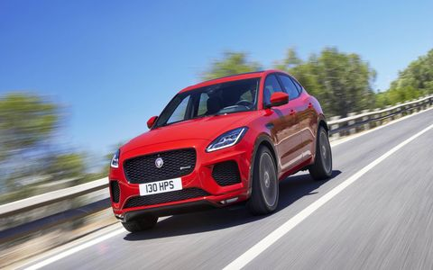 The Jaguar E-Pace is available with two four-cylinder engines, one making 246 hp and the other making 296 hp.