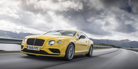 A vibrant yellow hue highlights the 2016 Bentley Continental GT V8S against a Norwegian backdrop.