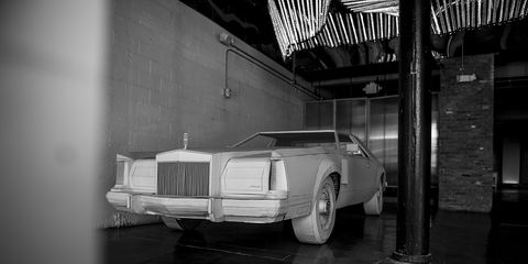 Detroit-based artist Shannon Goff created this 1979 Lincoln Continental Mark V out of cardboard to 'elevate' the material and show Detroit's great manufacturing history.