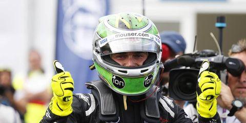 Nelson Piquet Jr. celebrates his Formula E championship in London on Sunday.