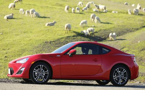 Front-engine, manual transmission, rear-wheel-drive. And sheep.