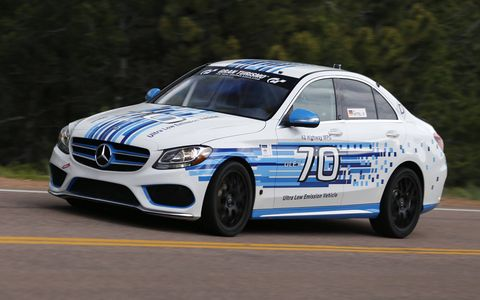 Uwe Nittel in 2016 Mercedes-Benz C250D 4MATIC, setting the Pikes Peak record for series-production diesel cars.