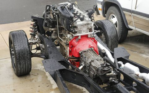 The engine will protrude a foot or so past the location of the stock '41 Plymouth firewall, so a custom firewall will be needed once the body is installed.