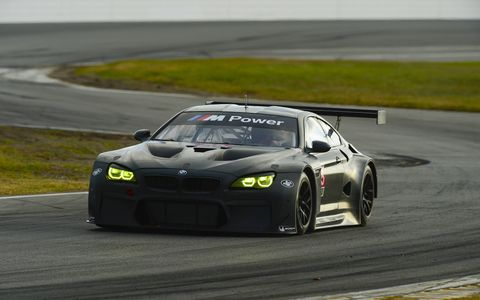 BMW M6 GTLM car from the first day of a two-day preseason test session held at Daytona International Speedway, Nov. 17-18.