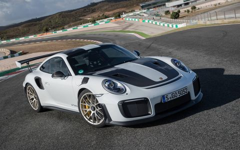2018 Porsche 911 GT2 RS static and rear at Agarve Internation Circuit in Portimao Portugal