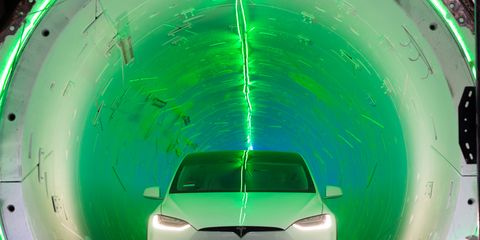 Hate traffic? Tunnel under it! Elon Musk's The Boring Co. showed a demo tunnel that could be the prototype for networks of tunnels under cities around the world. Here's a Tesla Model X in the demo tunnel across the street from Space X.