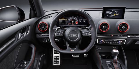 The Audi RS3 comes standard with nappa leather sport seats. RS sport seats with contoured side bolsters and integrated head restraints are also available.