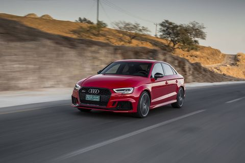 Packing a 400-hp five-cylinder engine, the RS3 is the hottest version of Audi's A3 sedan.