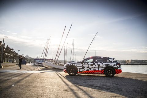 The Audi e-tron SUV premiered in Geneva and will be on sale in Europe at the end of this year.