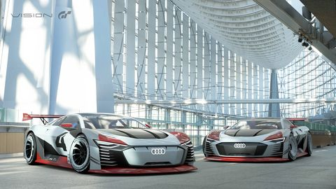 Audi debuted its E-Tron Vision Gran Turismo all-electric racer ahead of the Formula E race in Rome.
